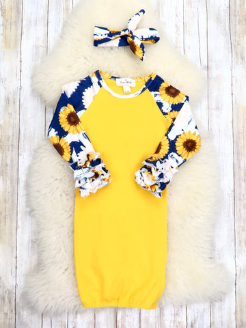 Mustard / Navy Sunflower & Daisy Sleep Gown & Headband