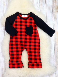 Christmas Buffalo Plaid Romper