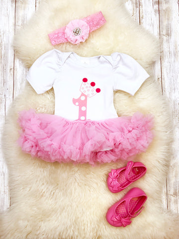 First Birthday Pink Tutu Onesie