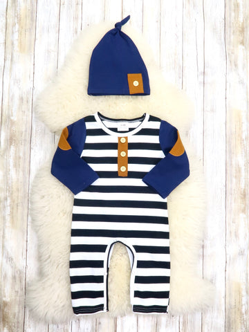 Navy Striped Romper & Hat