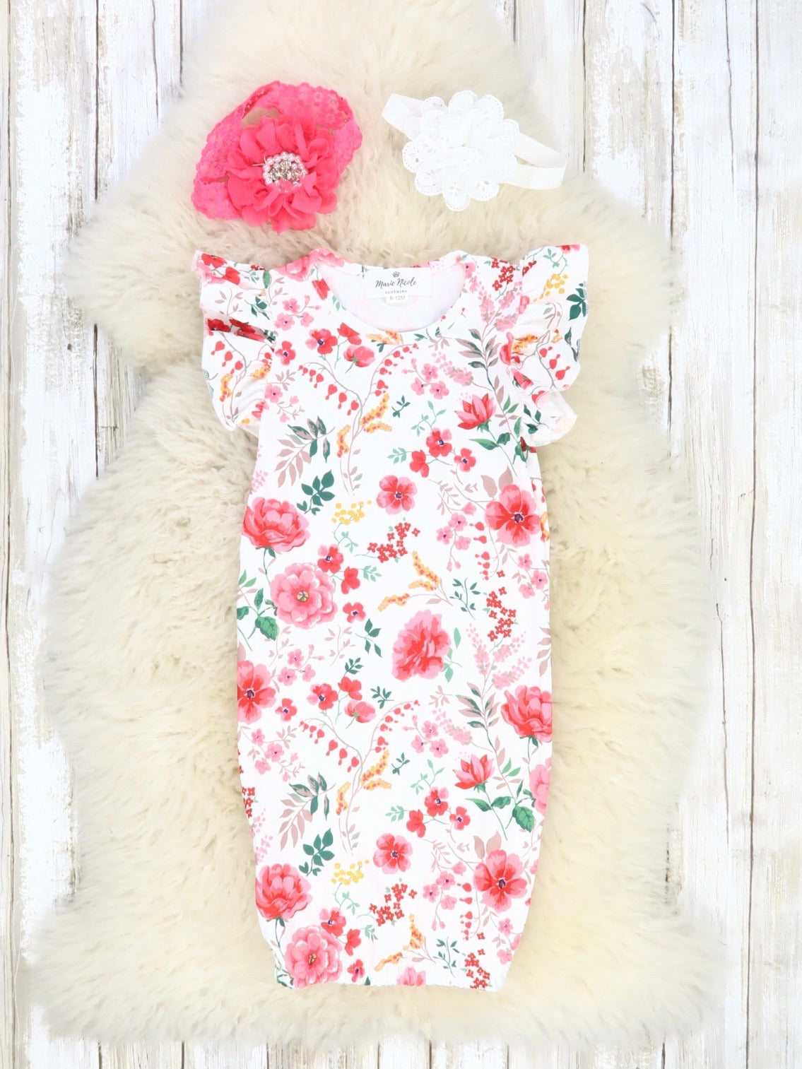 Summer Floral Short Sleeve Ruffle Gown