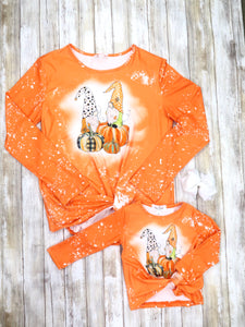 Mom & Me Orange Pumpkin Gnome Twist Shirt