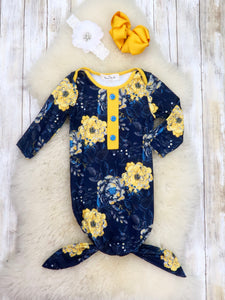 Navy / Mustard Floral Sleep Gown