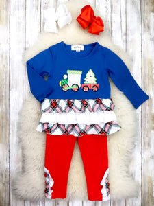 Navy Plaid Christmas Train Top & Red Pants Outfit