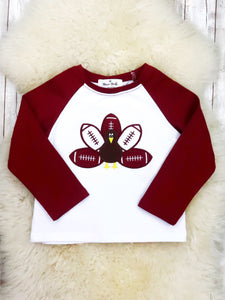 Burgundy / White Football Turkey Shirt