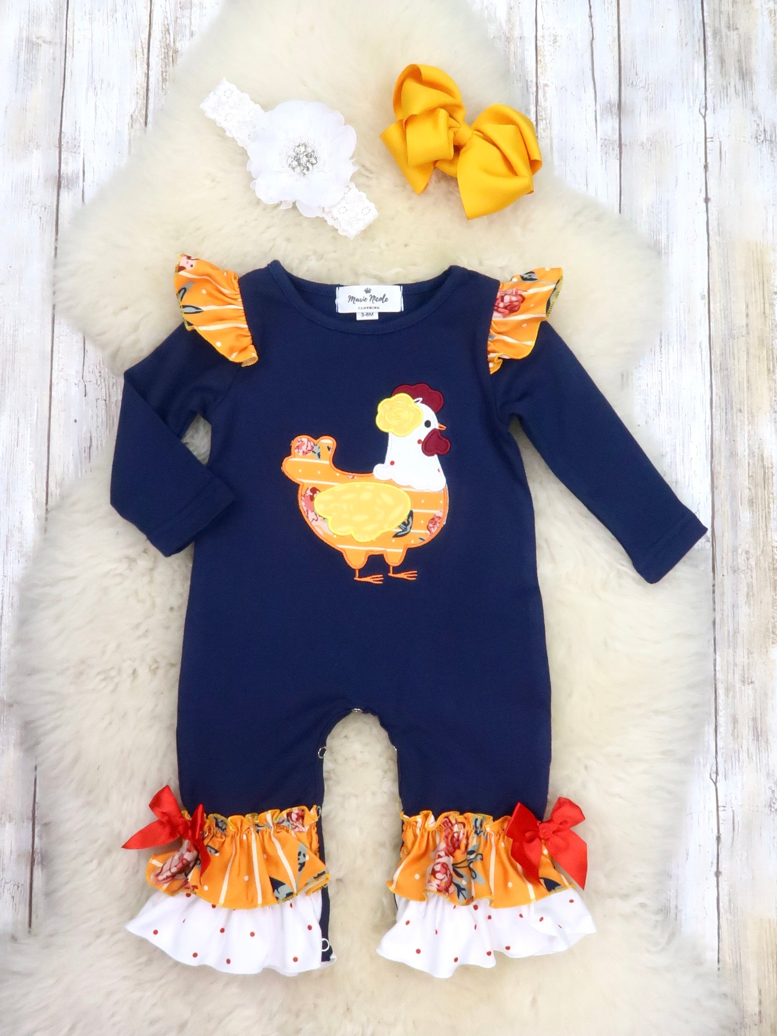 Navy / Orange Chicken Ruffle Romper