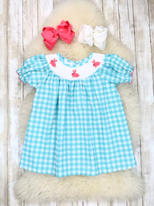 Turquoise Gingham Smocked Neckline with Bunny Embroidery Dress