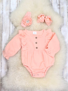 Peach Ruffle Bubble Romper