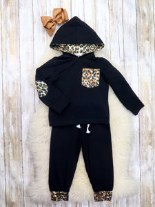 Black Leopard Hoodie & Joggers Outfit