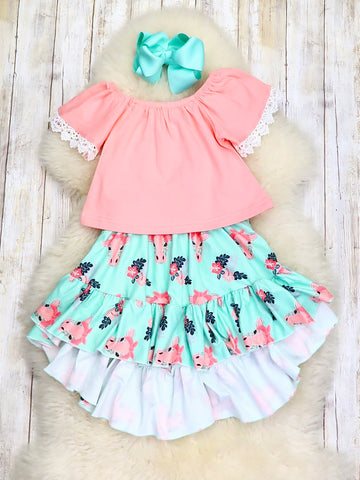 Pink Top & Teal Cow Hi-Lo Skirt Outfit