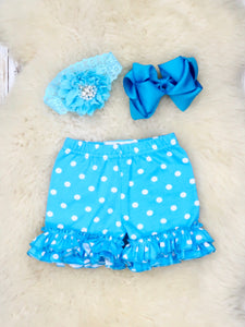 Cotton Ruffle Shorts - Blue & White Polka Dots