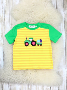 Green / Yellow Striped Egg Tractor T-Shirt