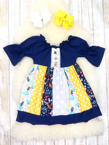 Navy Bubble Sleeve Yellow Polka Dot Ruffle Dress