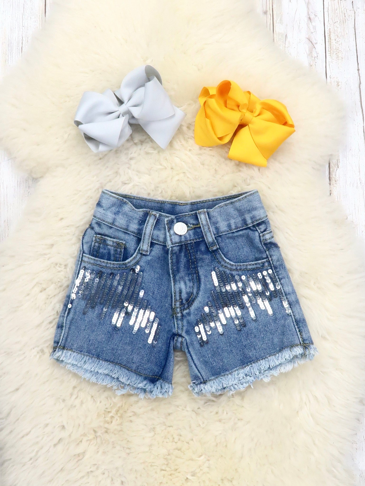 Sequin Denim Shorts