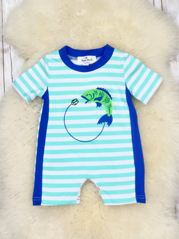 Striped Fishing Romper For Boy