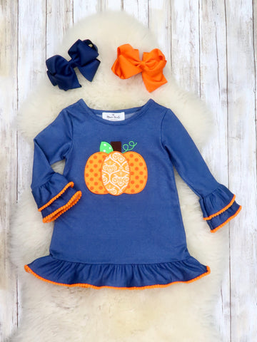 Denim / Orange Pumpkin Long Sleeve Ruffle Dress