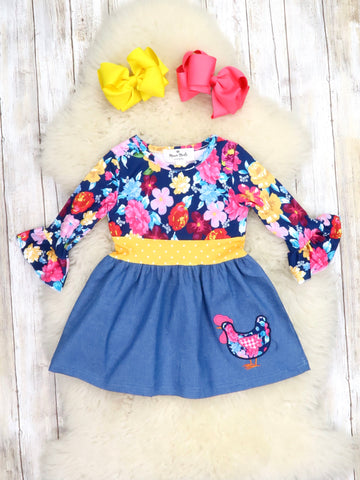 Navy /  Mustard Floral Turkey Ruffle Dress