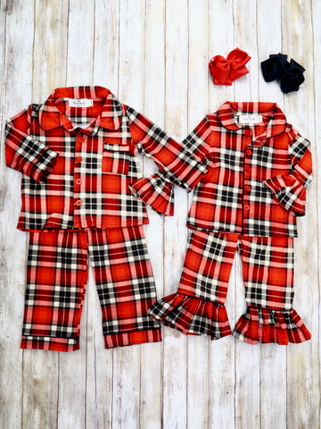 Christmas Plaid Ruffle Button Pajamas