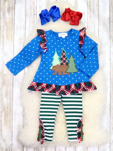 Blue Bear Ruffle Top & Striped Green Pants Outfit