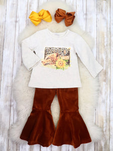 """Wild"" Leopard Top & Brown Velvet Bell Bottoms Outfit"