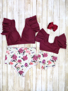 Mom & Me Plum Ruffle Top & Floral Bottom Swimsuit