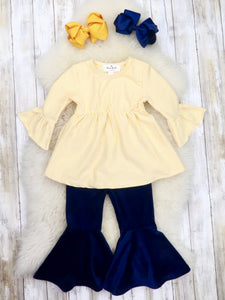 Yellow Pinstripe Ruffle Top & Navy Velvet Bell Bottoms Outfit