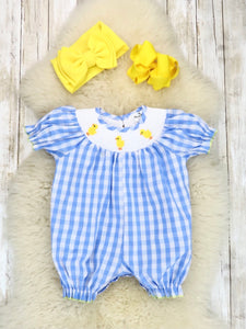 Blue Gingham Smocked Neckline With Chick Embroidery Ruffle Romper
