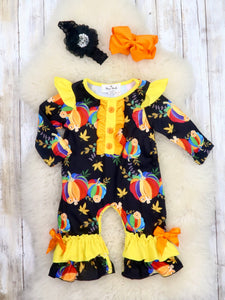 Yellow / Black Rainbow Pumpkin Ruffle Romper