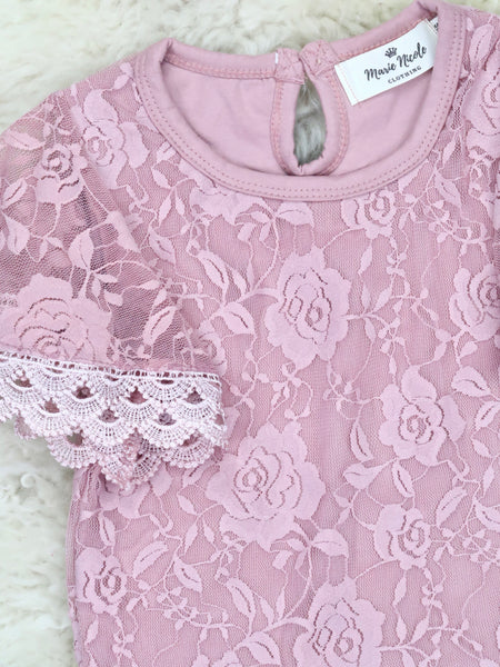 Lace Ruffle Short Sleeve Top - Mauve PINK