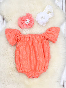 Lace Cotton Leo / Romper - Coral