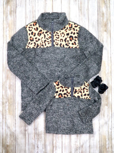 Mom & Me Gray / Leopard Sherpa Pullover