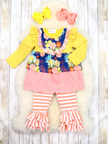 Yellow / Peach Floral Ruffle Top & Striped Ruffle Pants Outfit