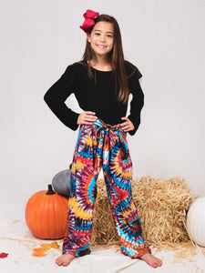 Black Ruffle Shirt with Tie Dye Pants Outfit