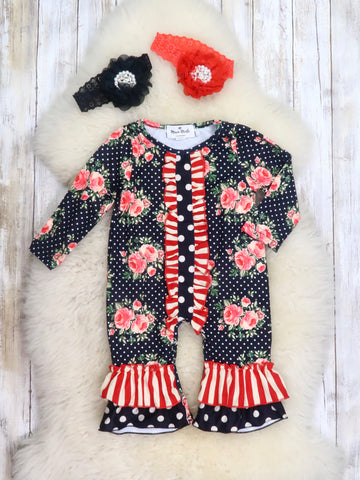 Black / Red Polka Dot Rose Ruffle Romper