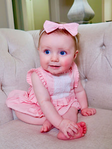Cotton Mini Ruffle Lacy Bubble with Headband - Pink