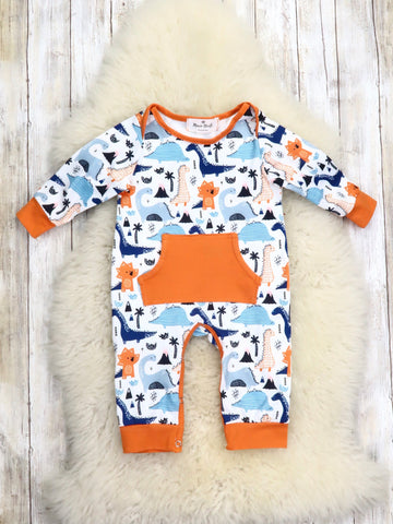 Orange / Blue Dinosaur Romper