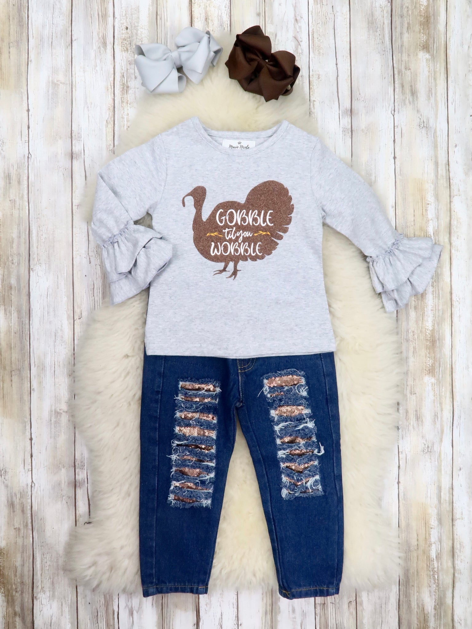 """Gobble Till You Wobble"" Top & Distressed Denim Outfit"