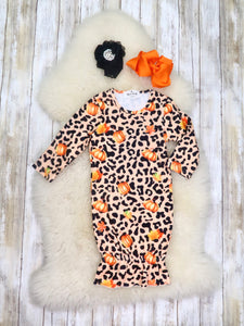 Pumpkin & Leopard Sleep Gown