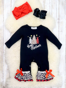 "Black ""Merry Christmas"" Trees Ruffle Romper"