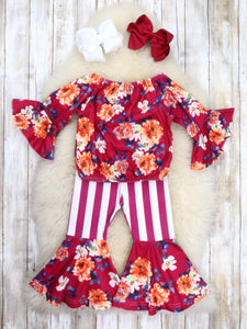 Cranberry Floral Ruffle Top & Striped Bell Bottoms Outfit