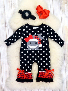 Black / White Polka Dot Santa Shark Ruffle Romper
