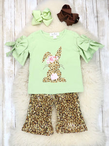 Mint Bunny Ruffle Top & Leopard Bottom Outfit