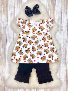 Yellow School Bus Ruffle Shorts Outfit