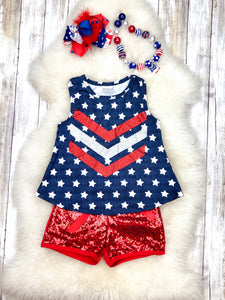 Star Tank Top & Sequin Shorts Outfit - Patriotic