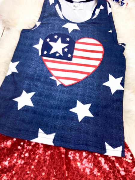 Heart Tank Top & Sequin Skirt Outfit- Patriotic