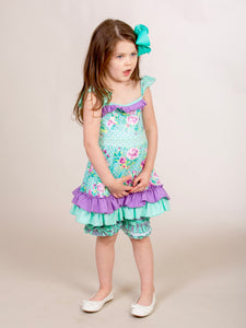 Tank Top & Ruffle Shorts Outfit- Mint & Purple Floral