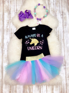 Always Be A Unicorn Top & Tutu Skirt Outfit