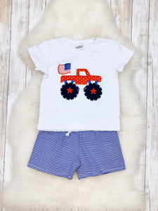 American Flag Monster Truck Shirt & Shorts Outfit