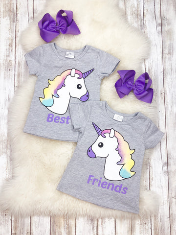 BEST FRIEND Matching Unicorn Raglan T-Shirt