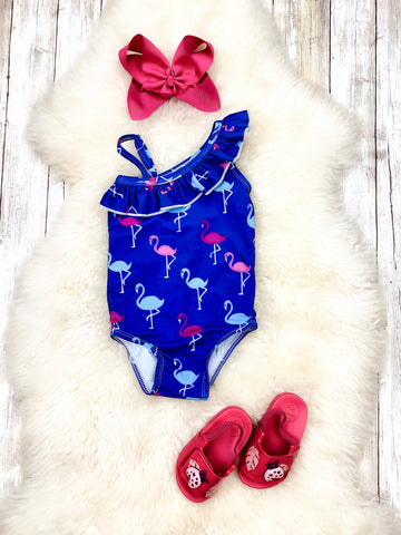 Blue Flamingo Ruffle One Piece Swimsuit